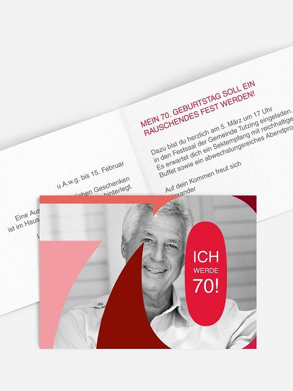Einladung 70. Geburtstag Bestes Alter