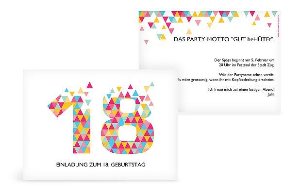 Einladungskarten 18 Geburtstag Drei Ecken