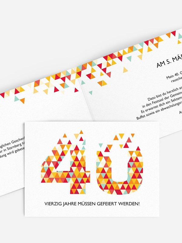 Einladung 40. Geburtstag Drei Ecken