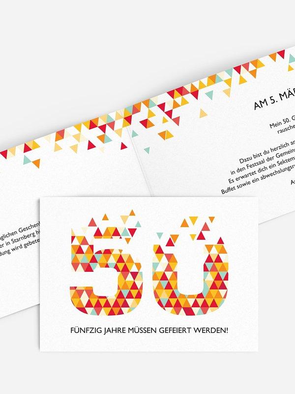 Einladung 50. Geburtstag Drei Ecken