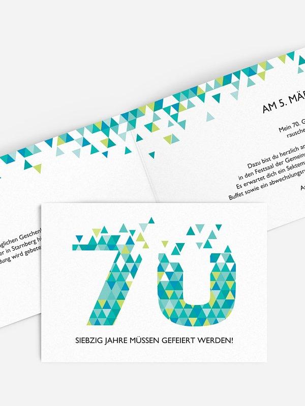 Einladung 70. Geburtstag Drei Ecken