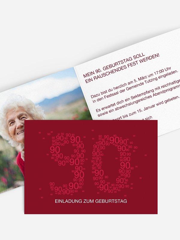 Einladung 90. Geburtstag Vielzahl