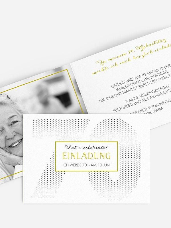 Einladung 70. Geburtstag Mit Punkten