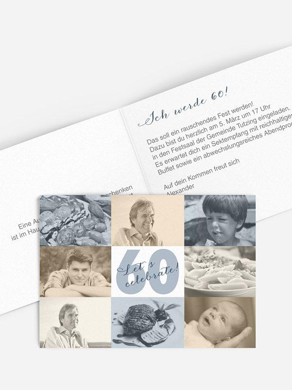 Einladung 60. Geburtstag Fotofelder
