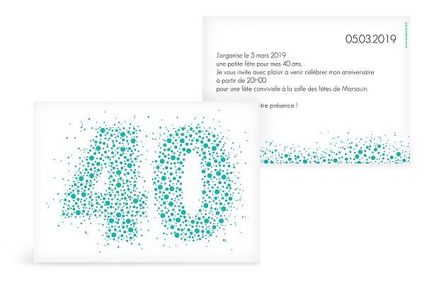 Carte Invitation Anniversaire 40 Ans Large Choix De Cartes