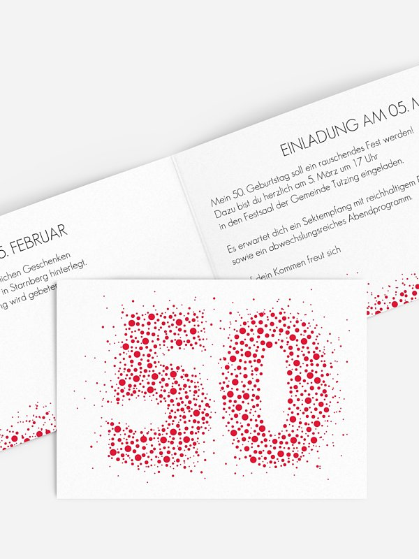 Einladung 50. Geburtstag Spritzig