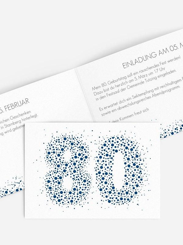 Einladung 80. Geburtstag Spritzig