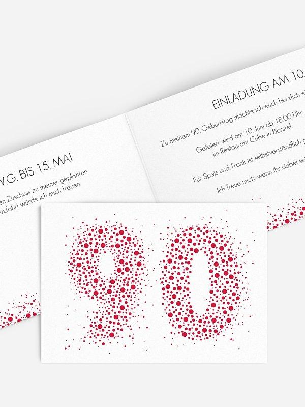 Einladung 90. Geburtstag Spritzig