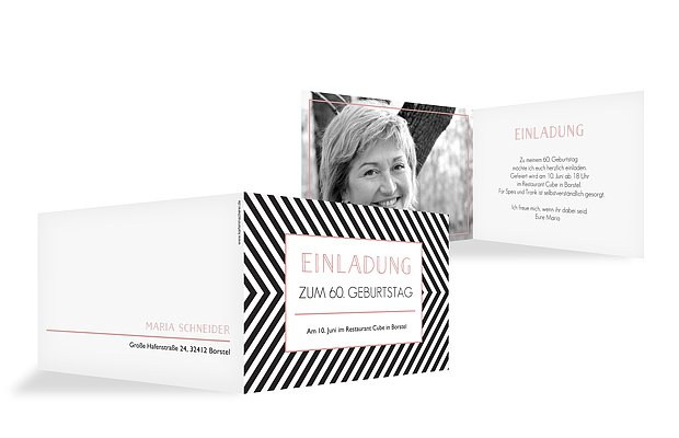 einladungskarten 60 geburtstag modern stripes. Black Bedroom Furniture Sets. Home Design Ideas