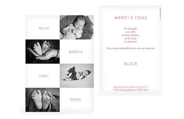 Carte remerciement naissance Damier de photos