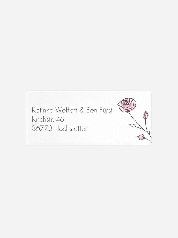 Absenderaufkleber Hochzeit Roses