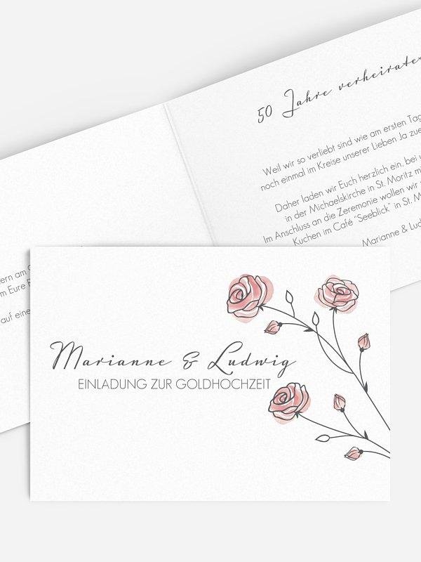 Einladung zur Goldenen Hochzeit Roses