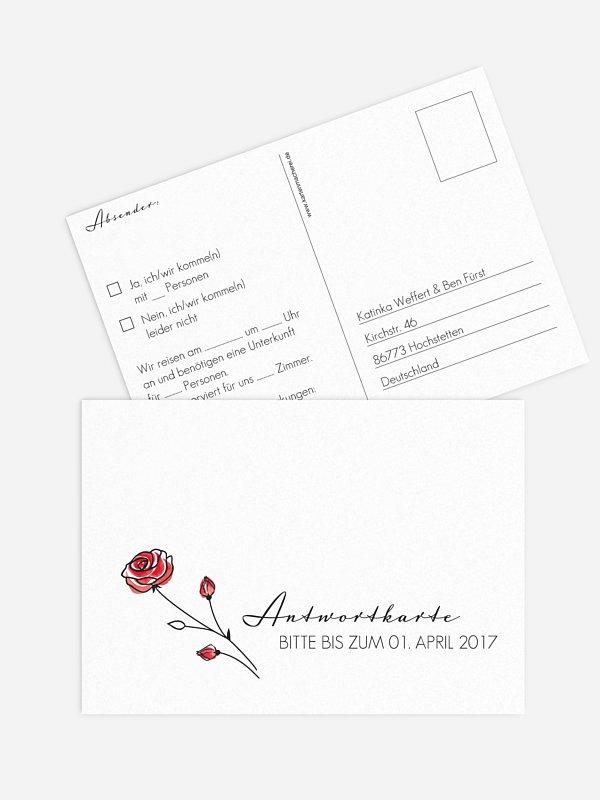 Antwortkarte Hochzeit Roses