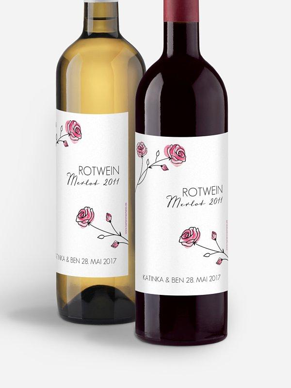 Flaschenetikett Hochzeit Roses