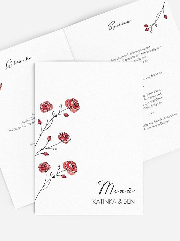 Menükarte Hochzeit Roses