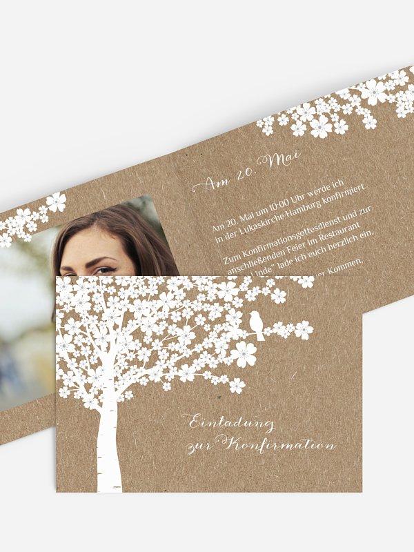 Konfirmationseinladung Kirschblüten Kraftpapier