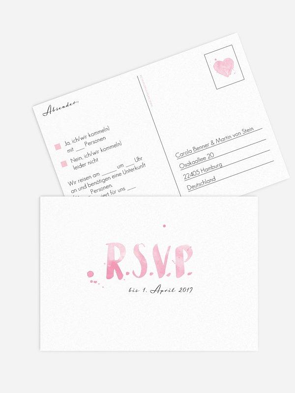 Antwortkarte Hochzeit Brush Lettering