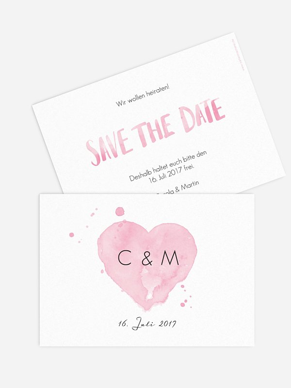 Save-the-Date Karte Brush Lettering