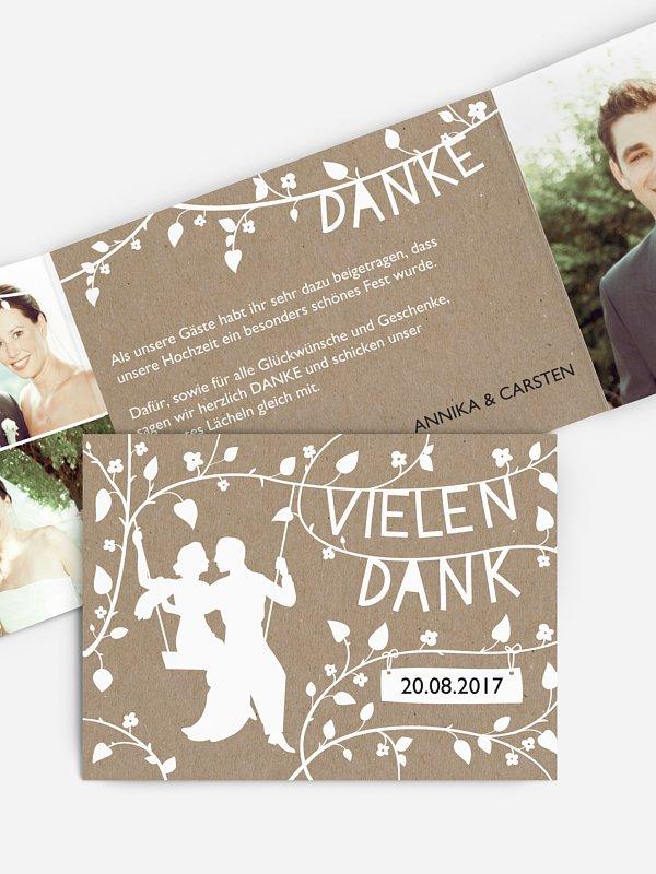 Dankeskarte Hochzeit Romantisch Kraftpapier