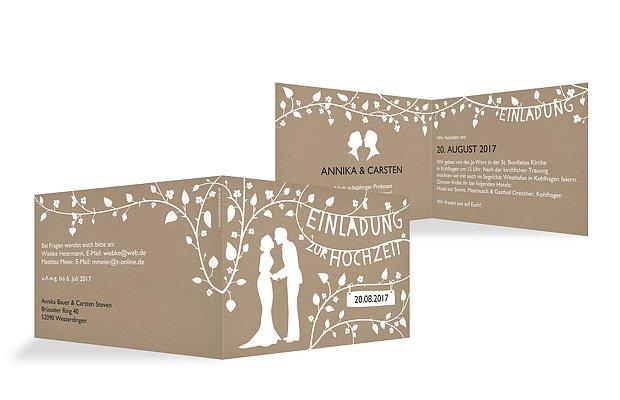 Hochzeitseinladung Romantisch Kraftpapier
