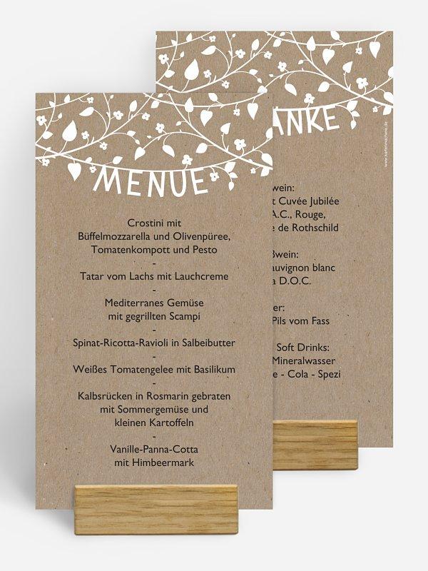 Menükarte Hochzeit Romantisch Kraftpapier