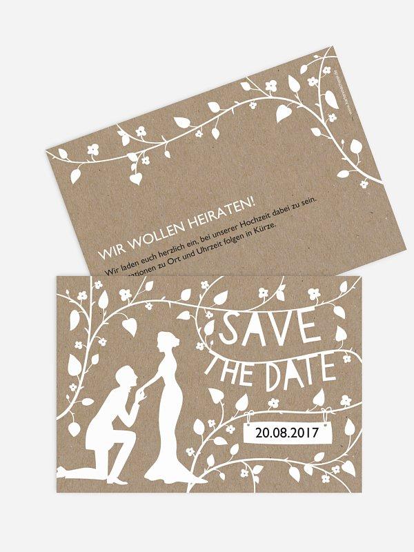 Save-the-Date Karte Romantisch Kraftpapier