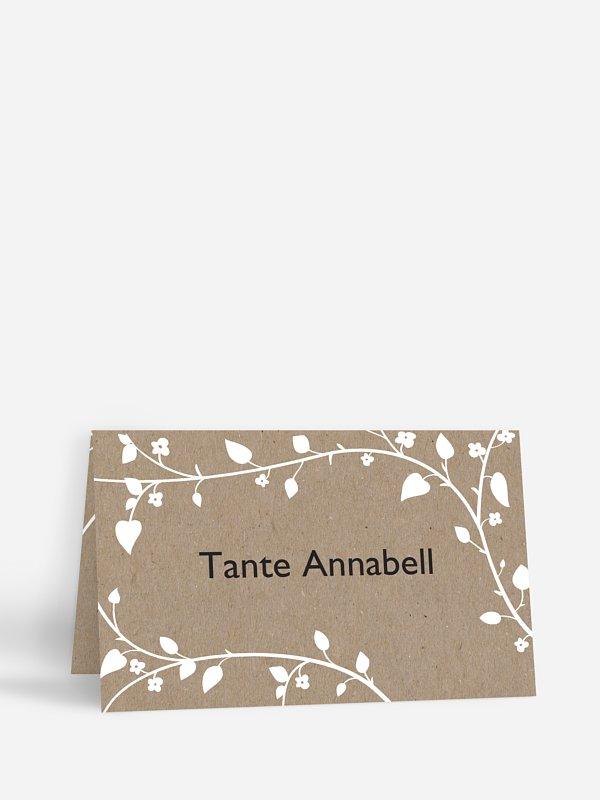 Tischkarte Hochzeit Romantisch Kraftpapier