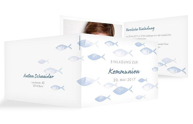 Kommunionseinladung Fischschwarm