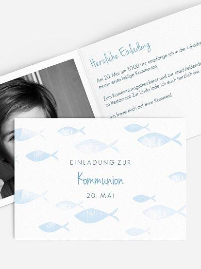 """Kommunionseinladung """"Fischschwarm"""""""