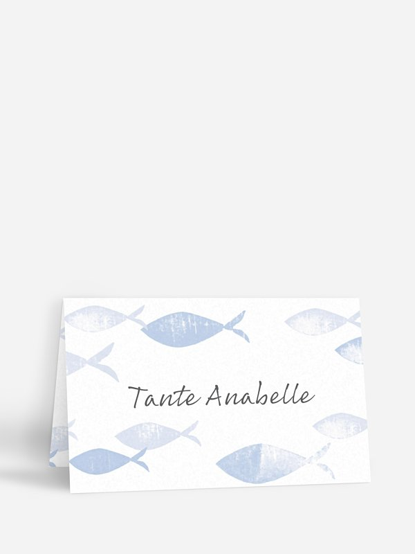Tischkarte Kommunion Fischschwarm