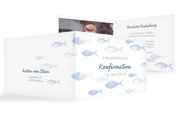 Konfirmationseinladung Fischschwarm