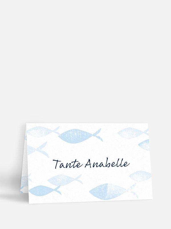 Tischkarte Konfirmation Fischschwarm