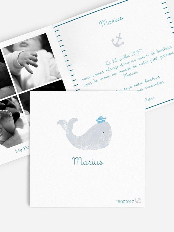 Faire-part naissance Baleine en aquarelle