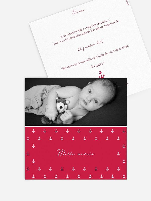 Carte remerciement naissance Ancre d'amour