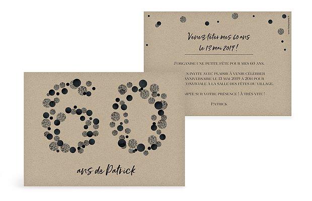 carte invitation anniversaire 60 ans large choix de mod les. Black Bedroom Furniture Sets. Home Design Ideas