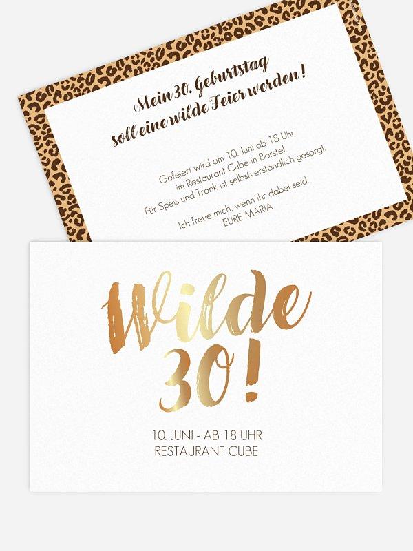 Einladung 30. Geburtstag Wild