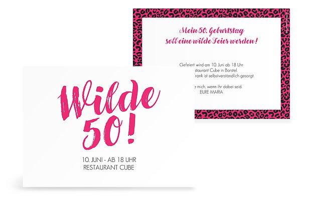 """einladungskarten 50. geburtstag """"wild"""""""