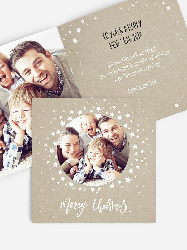 Weihnachtskarte Sternenkreis