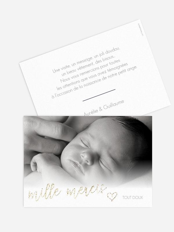 Carte remerciement naissance Notre petit bonheur