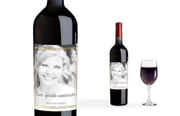 Étiquette pour bouteille Portrait chic