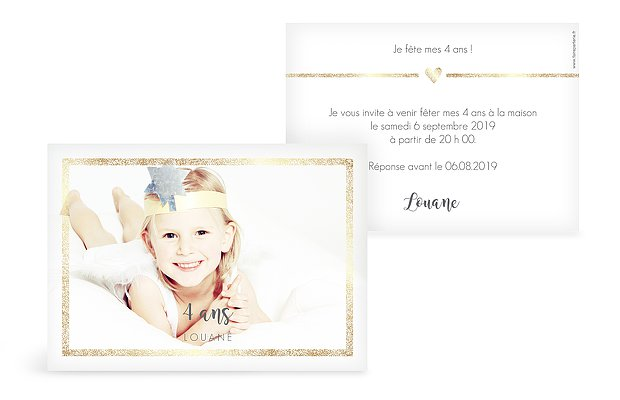 invitation anniversaire enfant Portrait chic