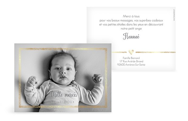 Carte remerciement naissance Portrait chic