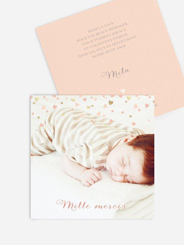 Carte remerciement naissance Pluie d'amour