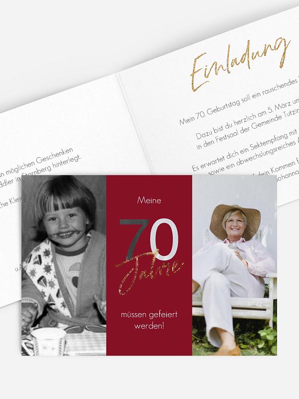 Einladung 70. Geburtstag Ehrentag