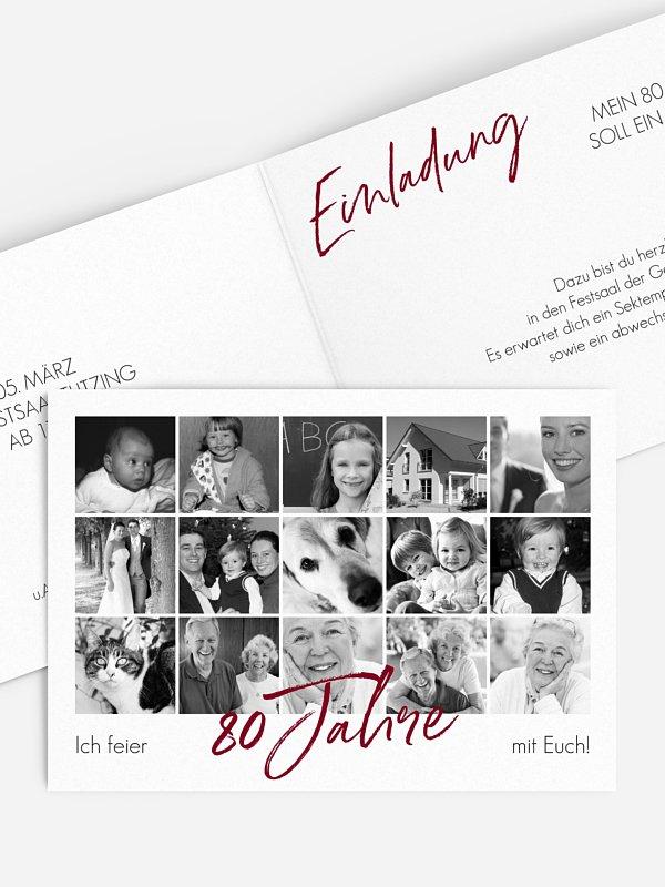 Einladung 80. Geburtstag Meine Jahre