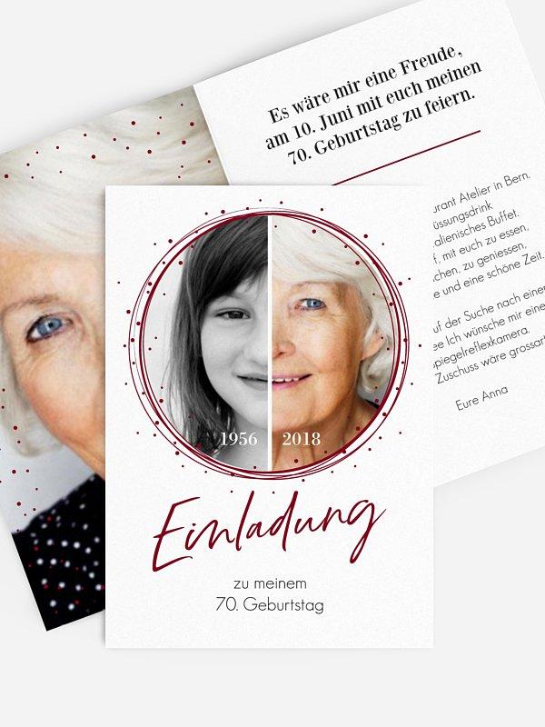 Einladung 70. Geburtstag Wandel der Zeit
