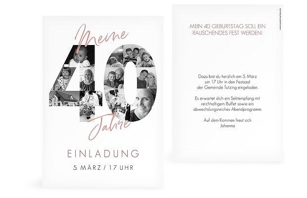 Einladungskarten 40 Geburtstag Fotojahre