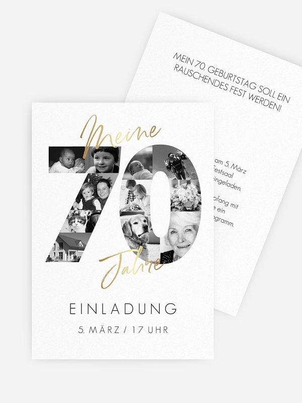 Einladungskarten 70 Geburtstag Fotojahre