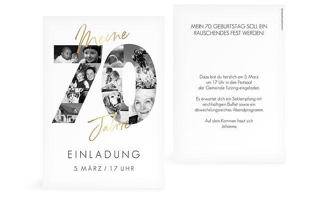 """Einladungen Zum 70 Geburtstag: Einladungskarten 70. Geburtstag """"Fotojahre"""""""