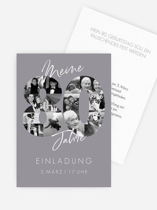 Einladung 80. Geburtstag Fotojahre